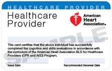 BLS FOR HEALTHCARE PROVIDER CARD